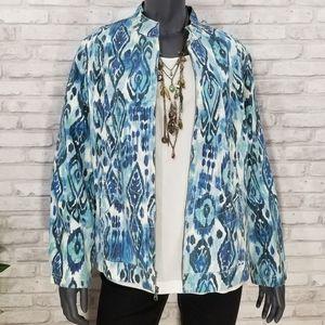 CHICOS blue abstract diamond print jacket size 3